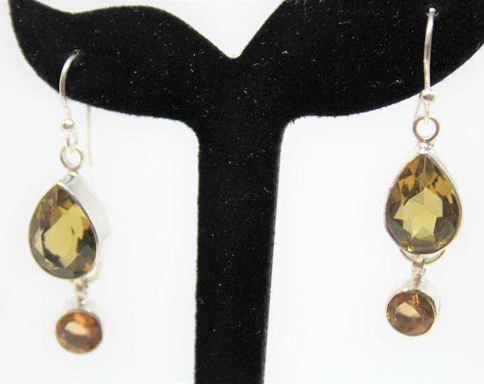 Citrine dangle earrings, .925 Sterling silver earrings, yellow gemstone drop earrings, Mother's Day gift, elegant accessory, gift for her