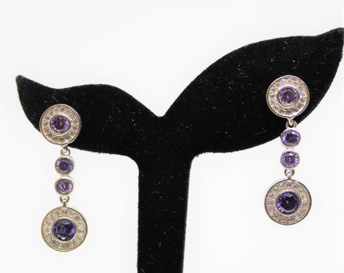 Amethyst drop earrings, white topaz earrings, .925 Sterling silver earrings, glamour dangle earrings, unique accessory, bridal accessory