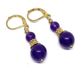 Amethyst drop earrings, SPECIAL OFFER, purple dangle earrings, colorful delicate accessory, gift for her, Boho chic accessory