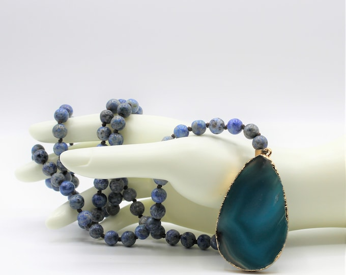Blue agate pendant beaded necklace, hand knotted long strand, elegant blue layering women accessory, unique gift for her