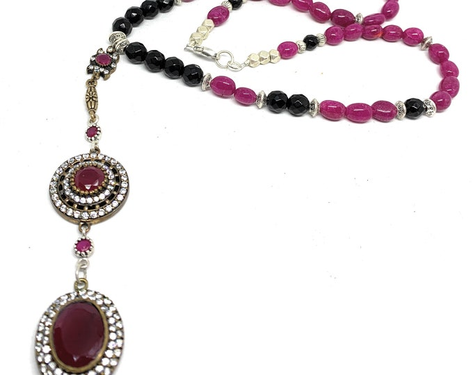 Natural ruby Y statement necklace, ruby jewel elegant beaded necklace, Hollywood glamour, July birthstone accessory