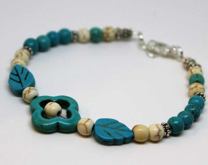 Plus size turquoise beaded bracelet, SPECIAL OFFER, flower bracelet, unique gift idea for her, colorful bracelet, fun everyday accessory