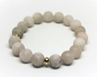 Gemstone beaded bracelet, gray-pink frosted gem bracelet, stacking bracelet, unique gift idea for her, stackable gemstone bracelet