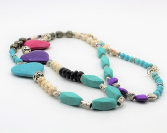 Multi color heart beaded necklace, colorful long necklace, Valentine's Day gift, multi stone necklace, layering long necklace, gift for her