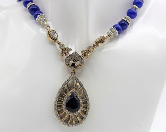 Blue sapphire Y beaded necklace, jewel pendant necklace, blue statement necklace, elegant bridal accessory, natural gems necklace