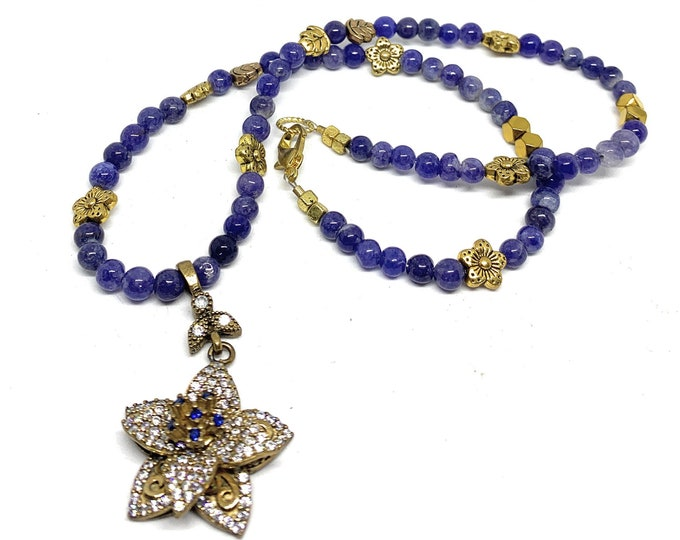 Blue sapphire beaded necklace with unique flower jewel pendant, perfect bridal accessory, wedding gift, plus size choker