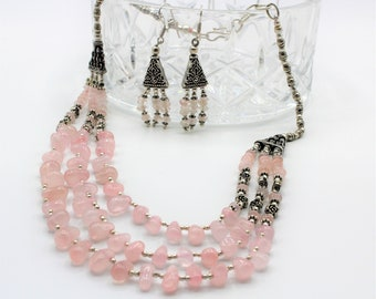 Rose quartz beaded necklace set, pink multi strand necklace with earrings, special occasion gemstone accessory, unique gift idea for women