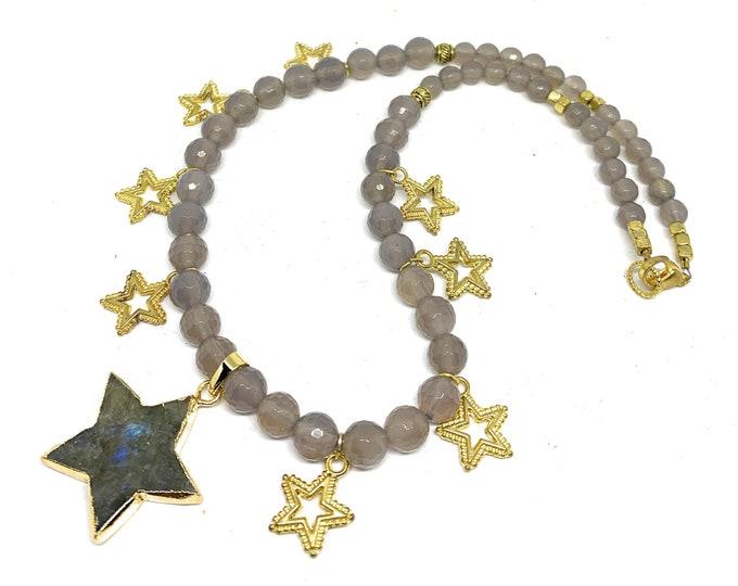 Labradorite star pendant beaded necklace, golden stars strand, gemstone statement necklace, elegant gift for her