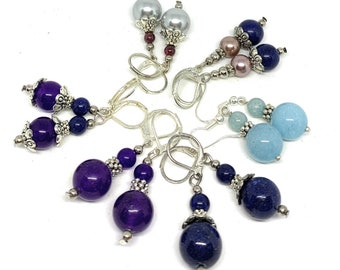 Gemstone dangle earrings, SPECIAL OFFER, pearl, lapis lazuli, amethyst and blue Chalcedony drop earrings to choose from, gift for her