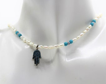 Dainty Hamsa pendant beaded necklace, delicate pearl and turquoise strand, unique gift for her, evil eye protection amulet, pearl choker