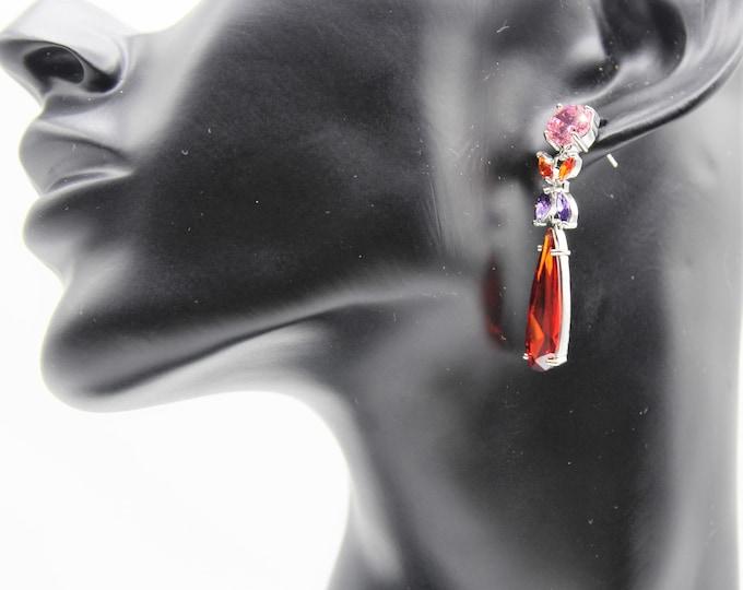 Multi gem earrings, multi color drop earrings, colorful accessory, glamour earrings, gift idea, gemstone earrings