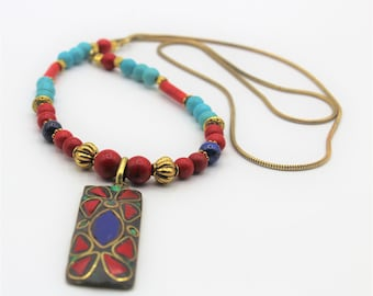 Tribal turquoise beaded necklace, Tibetan pendant in a long colorful strand, unique gift for women, ethnic accessory