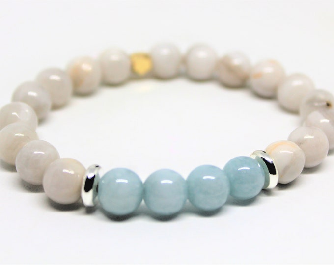Natural gemstone beaded bracelet, agate and amazonite stacking bracelet, gemstone layering bracelet, unique gift idea, colorful accessory