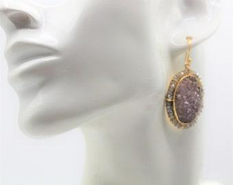Purple Druzy gem drop earrings, SPECIAL OFFER, labradorite and gem dangle earrings, unique statement accessory, elegant gift for women