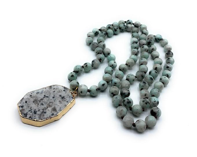 Long beaded pendant necklace, jasper hand knotted necklace with pendant, layering necklace, everyday elegant accessory for women