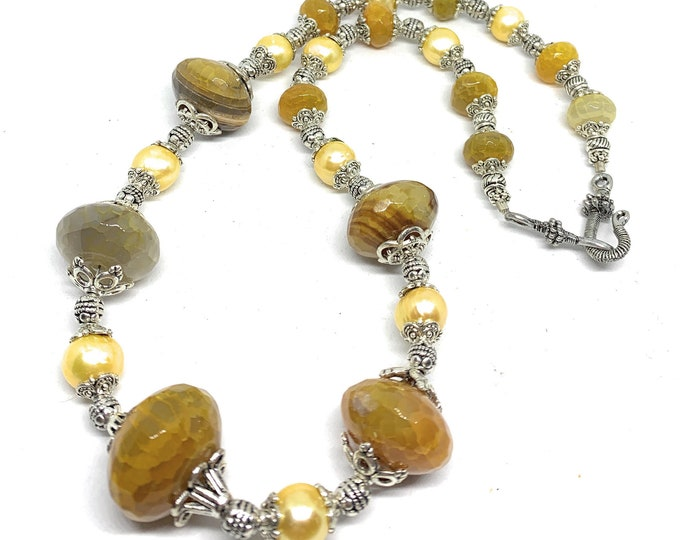 Agate and pearl beaded necklace, crackle agate statement strand , unique gift idea for her, golden yellow plus size choker