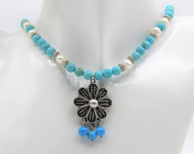 Turquoise beaded necklace, vintage silver flower pendant necklace, pearl accents necklace, everyday elegant accessory, unique gift for her