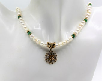 Pearl necklace, flower pendant beaded necklace, emerald accents necklace, delicate pendant necklace, elegant gift for her, bridal accessory