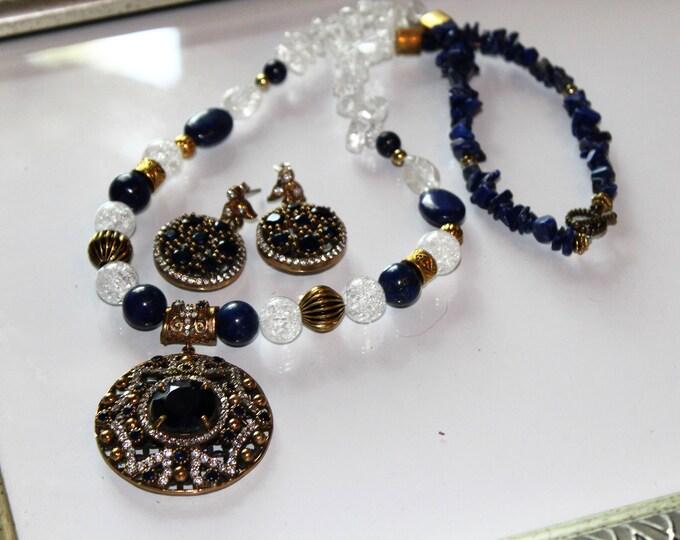 Blue sapphire necklace set Statement necklace set Beaded necklace set Sterling silver set Gift for her Bridal set Two piece set Jewel set