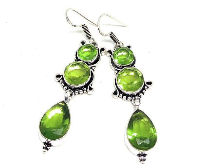 Peridot and silver dangle earrings,  natural gemstone drop earrings, glamour bridal accessory, unique gift for her, August birthstone