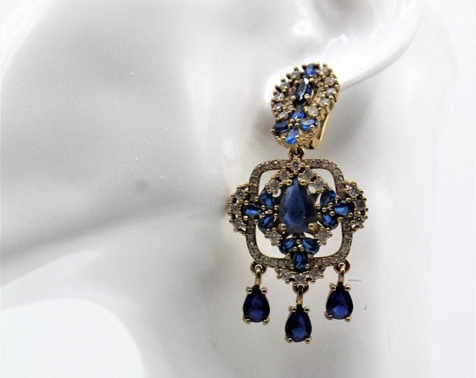 Blue sapphire earrings, gemstone chandelier earrings, glamorous accessory, bridal accessory, unique natural stones earrings