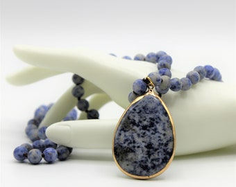 Blue sodalite pendant beaded necklace, blue long hand knotted strand, layering beaded necklace, beaded blue bridal accessory