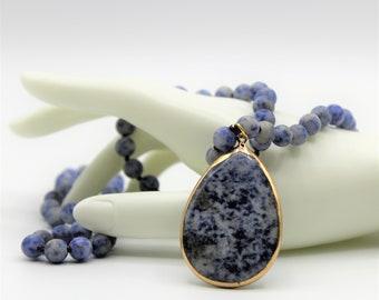 Blue sodalite pendant beaded necklace, blue long hand knotted necklace, layering beaded necklace, beaded blue bridal accessory
