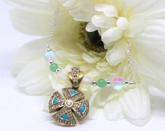Delicate cross necklace, beaded cross necklace, faith necklace, cross pendant, religious jewelry, gift idea