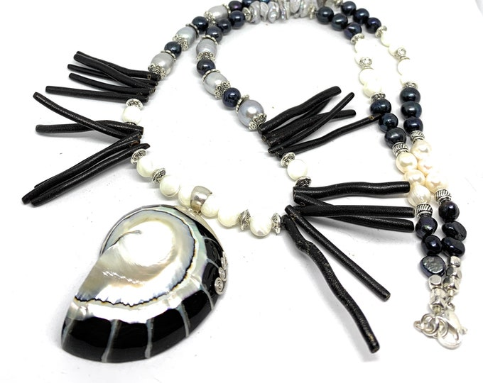 Black and white coral beaded necklace with nautilus pendant, pearl and coral statement necklace, whimsical long strand, gift for her