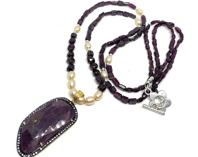 Long garnet beaded necklace with sapphire pendant, pearl accents and gem strand, unique statement accessory, gift for women
