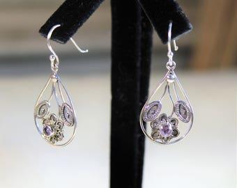 Delicate Sterling silver drop earrings, SPECIAL OFFER, amethyst accent dangle earrings, flower motif earrings, unique gift idea for her