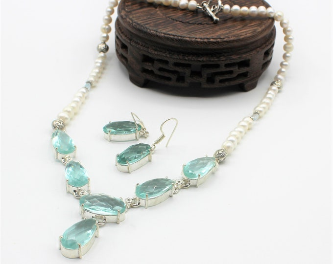 Blue topaz and pearl beaded necklace set, pearl and gemstone statement necklace, glamorous accessory, unique bridal accessory, wedding gift