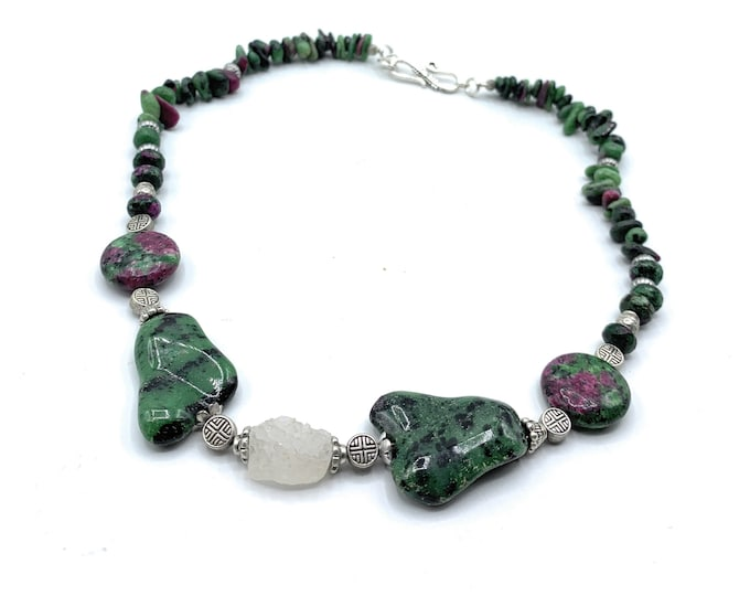 Ruby ziosite beaded necklace, unique natural green gemstone strand, elegant choker, delicate statement necklace