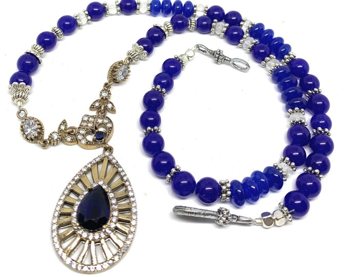 Blue sapphire Y beaded necklace, unique jewel pendant necklace, elegant bridal accessory, natural gemstone statement necklace