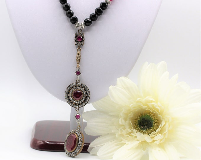 Natural ruby Y statement necklace, ruby jewel elegant beaded necklace, Hollywood glamour, unique ruby accessory