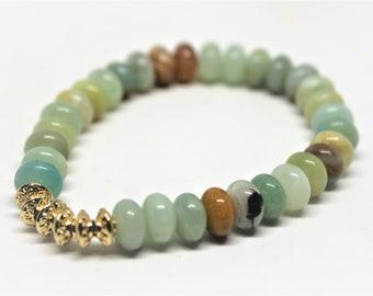 Gemstone beaded bracelet, amazonite stacking bracelet, colorful stretch bracelet, unique gift for her, Mother's Day gift