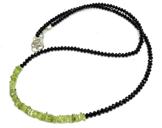 Green peridot and black spinel minimalist necklace, precious gem dainty beaded strand, delicate plus size choker, gift for her