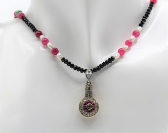 Beaded precious gemstone necklace, ruby, emerald, pearl and black spinel pendant necklace, unique pendant plus size choker, bridal accessory