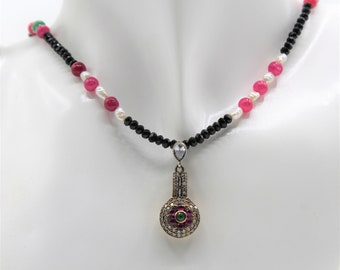 Ruby and black spinel pendant necklace, gemstone beaded necklace, pearl accents necklace, unique gift for her, dainty choker