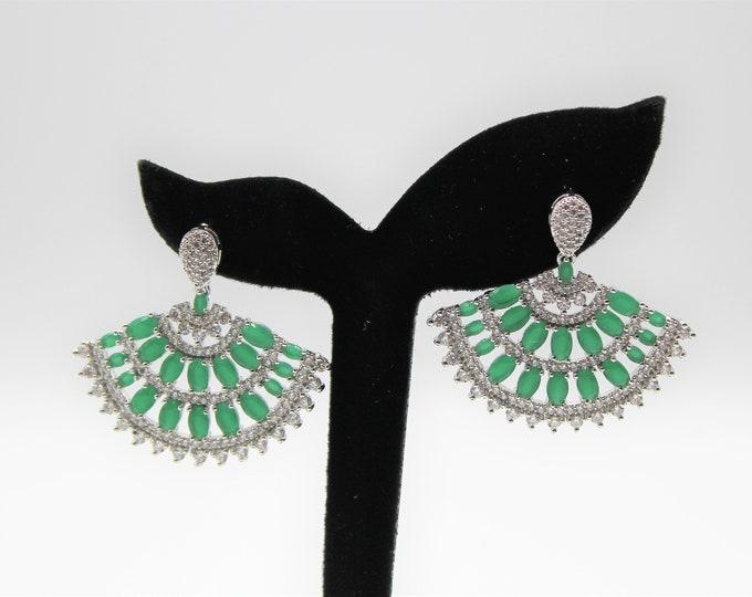 Natural emerald earrings, real gemstone earrings, glamour accessory, emerald drop earrings, bridal accessory, statement earrings