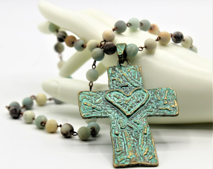 Cross and rosary chain necklace, verdigris cross pendant necklace, amazonite rosary chain long necklace,Boho chic cross necklace