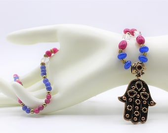 Ruby and sapphire Hamsa pendant necklace, natural gems beaded necklace, unique statement evil eye protection, gift amulet for women