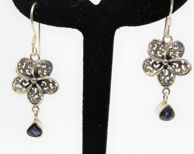 Sterling silver dangle earrings,SPECIAL OFFER, iolite drop earrings, flower motif earrings, unique gift idea for her, everyday accessory