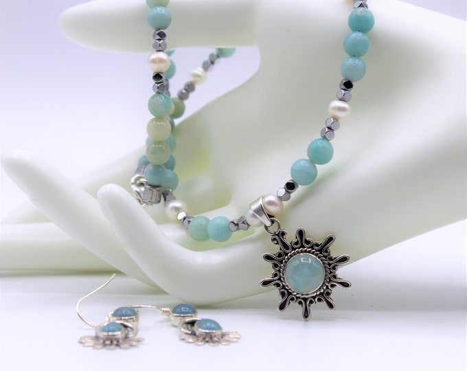 Chalcedony beaded necklace and earrings set, amazonite pendant necklace in a set, elegant blue two piece set, unique gift for her