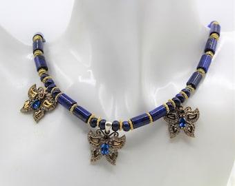 Blue lapis beaded necklace, three butterflies pendant necklace, statement necklace, elegant everyday accessory, plus size choker