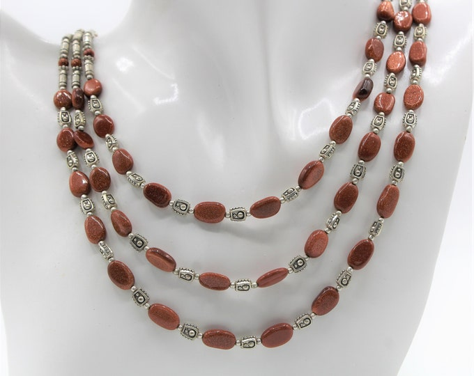 Sandstone multi strand necklace,golden brown  beaded necklace, elegant statement necklace, silver accents necklace, delicate gift for her