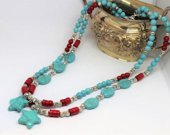 Turquoise star pendant beaded necklace, red and blue necklace, colorful multi strand necklace, all seasons accessory, unique gift for her