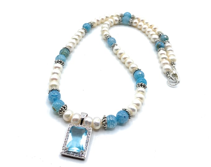 Blue topaz pendant and pearl beaded necklace, elegant pearl and gemstone statement necklace, unique bridal accessory, gift for her