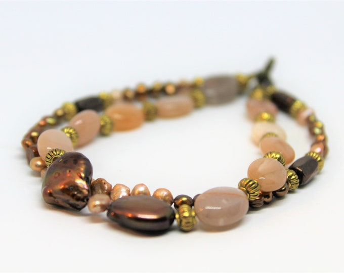 Plus size pearl beaded bracelet, double strand bracelet, elegant accessory, gift idea for curvy women