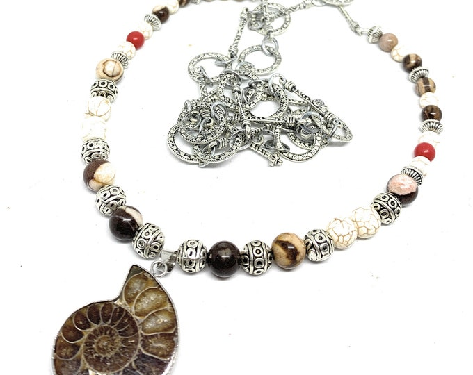 Ammonite fossil colorful beaded long necklace, Boho chic beaded necklace with sea nautilus pendant, fall colors accessory, gift for women
